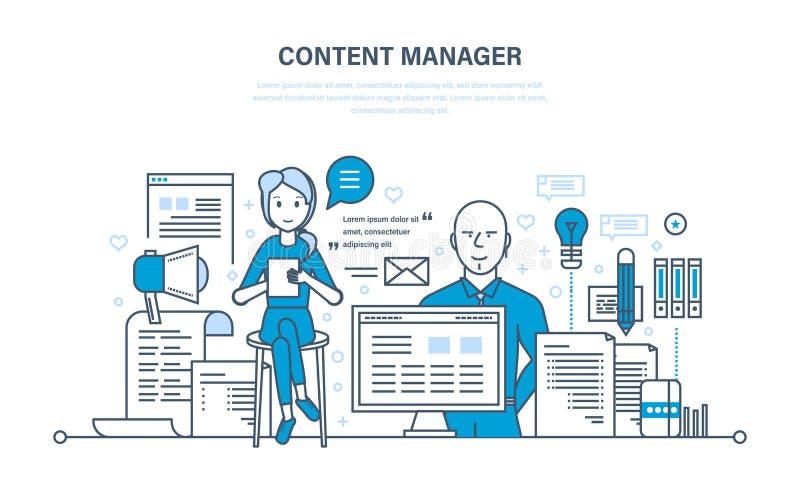 Gestore soddisfatto Tecnologie moderne, lavoro su scrittura, pubblicando, elaborando testo illustrazione di stock