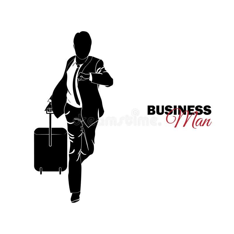 Gestore Un uomo in un vestito di affari L'uomo d'affari sta correndo con una valigia, è in ritardo illustrazione vettoriale