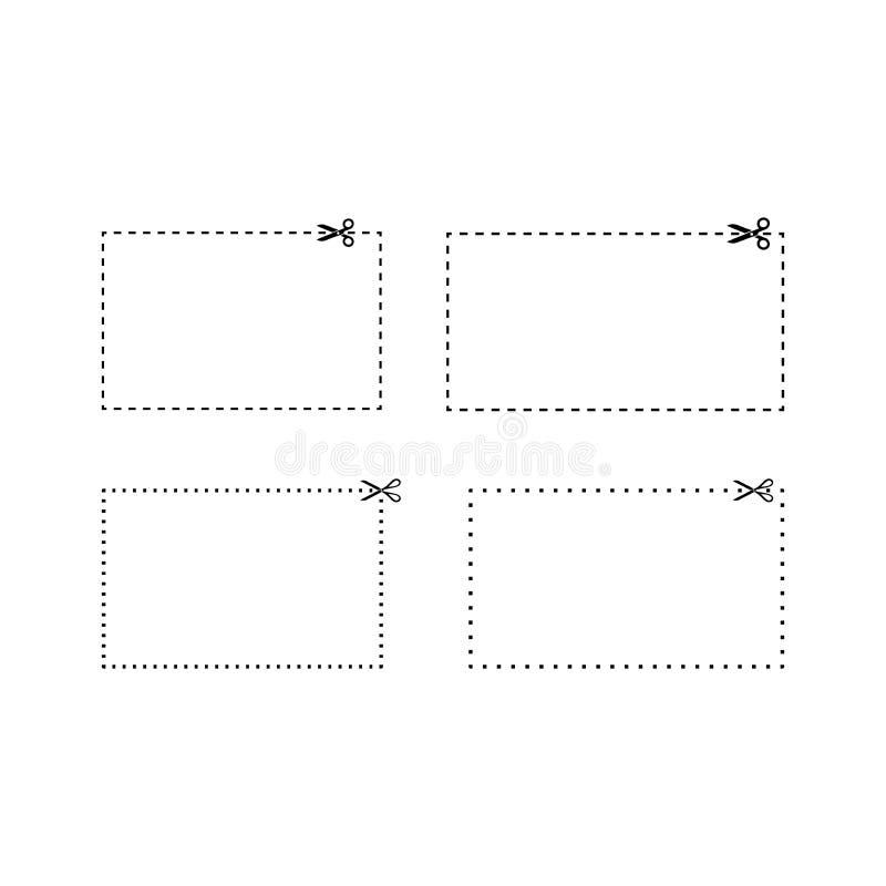 Gestormd en gestippelde rechthoekcoupons lijnmalplaatjes vector illustratie