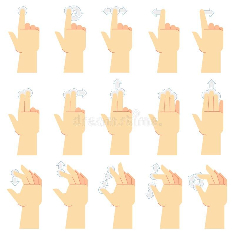 Gestos de la pantalla t?ctil El golpecito del finger, el gesto del golpe fuerte y la mano tocaron las pantallas del smartphone Si ilustración del vector