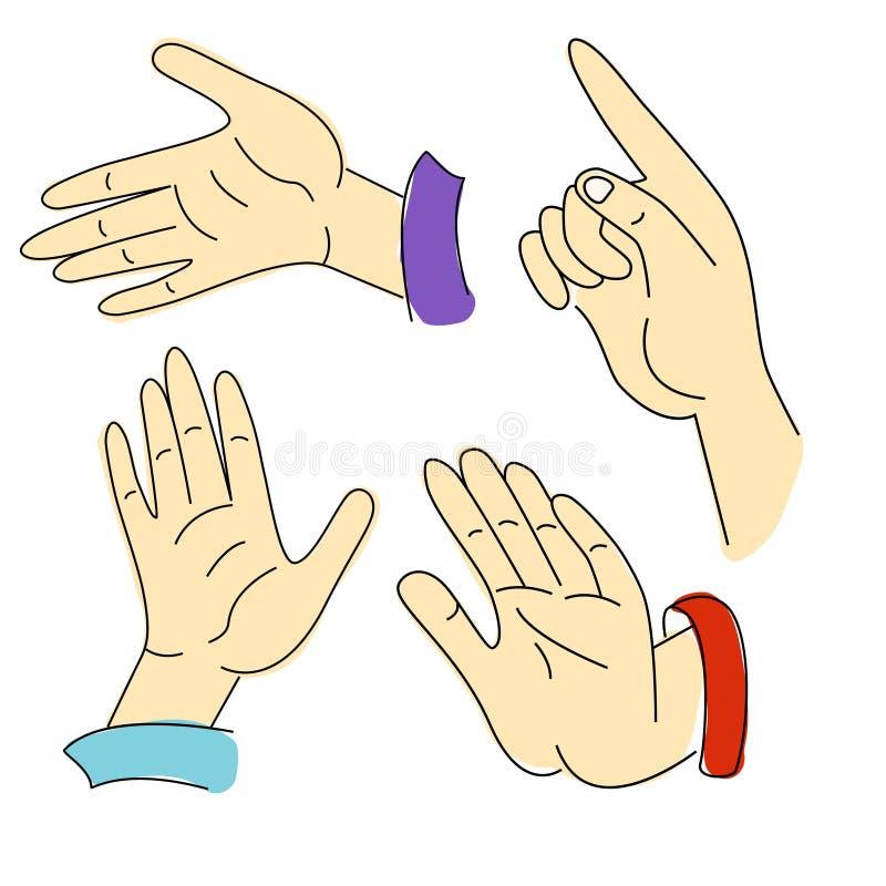 Gestos de las manos y de los fingeres libre illustration