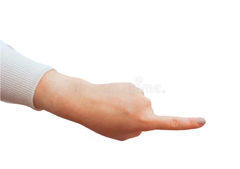 Gestos de mão caucasianos fêmeas múltiplos isolados sobre o fundo branco foto de stock