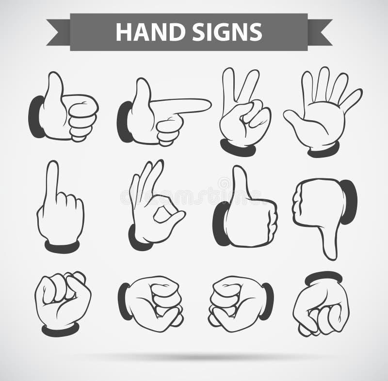 Gestos de mão diferentes no fundo branco ilustração royalty free