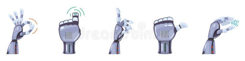 Gestos de mão do robô Mãos robóticos Máquina mecânica da tecnologia que projeta projeto futurista ajustado dos gestos de mão do s ilustração do vetor