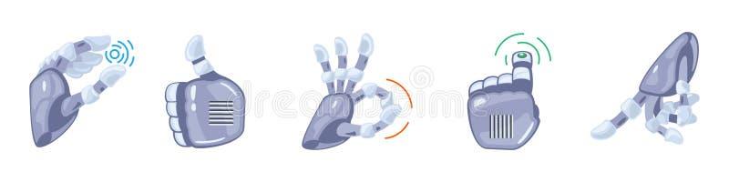 Gestos de mão do robô Mãos robóticos Símbolo mecânico da engenharia da máquina da tecnologia Gestos de mão ajustados sinais ilustração do vetor