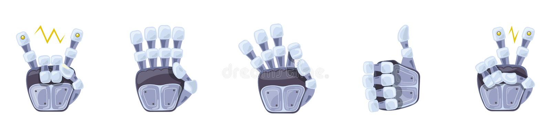 Gestos de mão do robô Mãos robóticos Símbolo mecânico da engenharia da máquina da tecnologia Gestos de mão ajustados sinais ilustração stock
