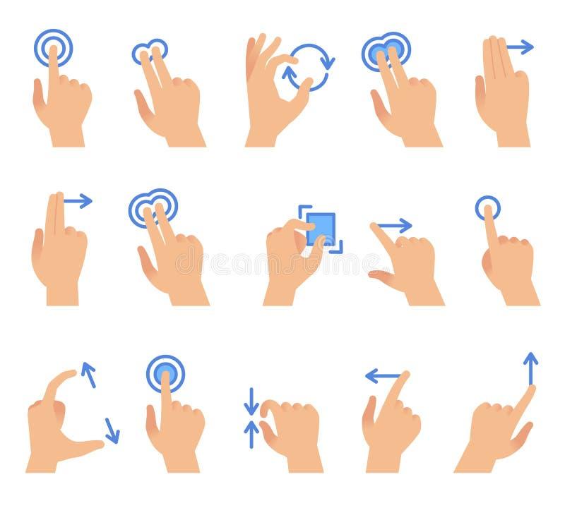 Gestos de mão do tela táctil Uma comunicação dos dispositivos da tela tocante, arrasto que usa o gesto do dedo para apps conecta  ilustração stock