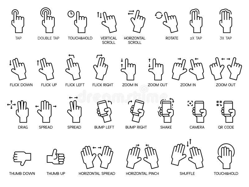 Gestos de mão e grupo do ícone do tela táctil, usando-se como a relação ilustração royalty free