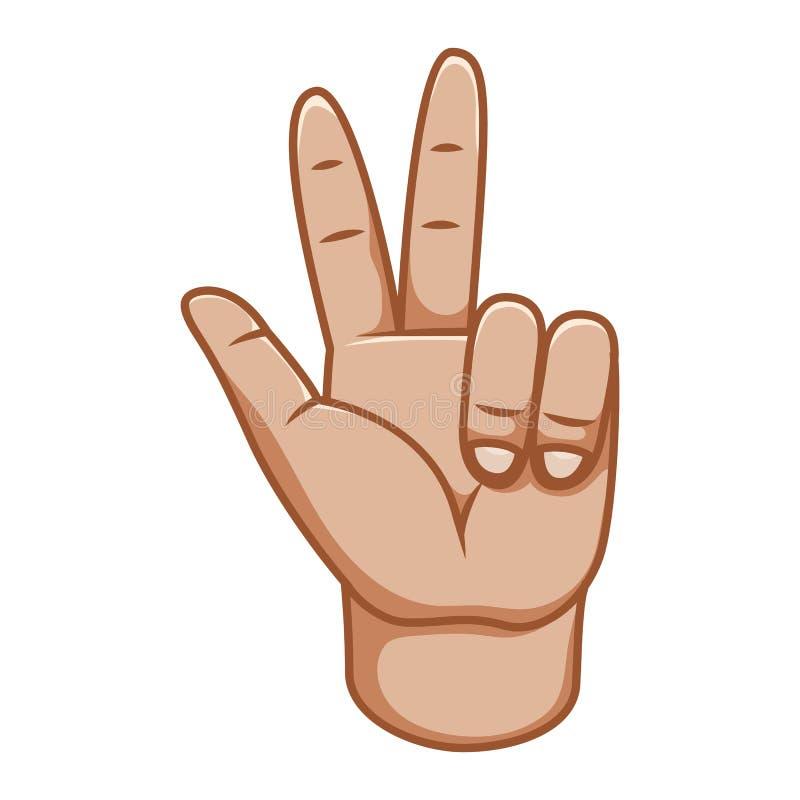 Gestos de mão, grande projeto para algumas finalidades Sinal de paz Linha ícone do gesto Gestos humanos do vetor Fundo branco ilustração stock