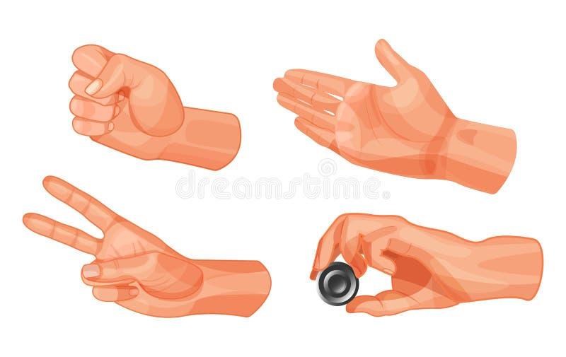 Gestos de mão para jogar a pedra, tesouras, papel Figura dos verificadores ilustração royalty free