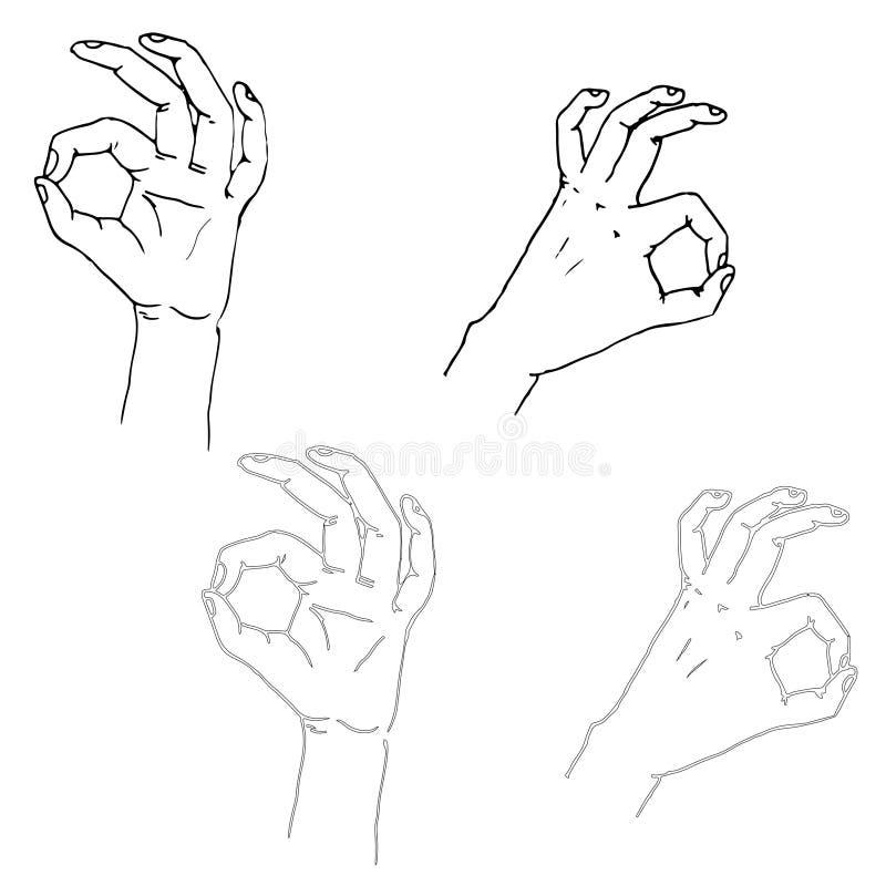 Gestos de mano stock de ilustración
