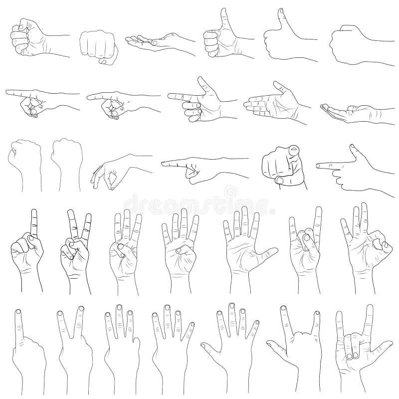 Gestos de mano ilustración del vector