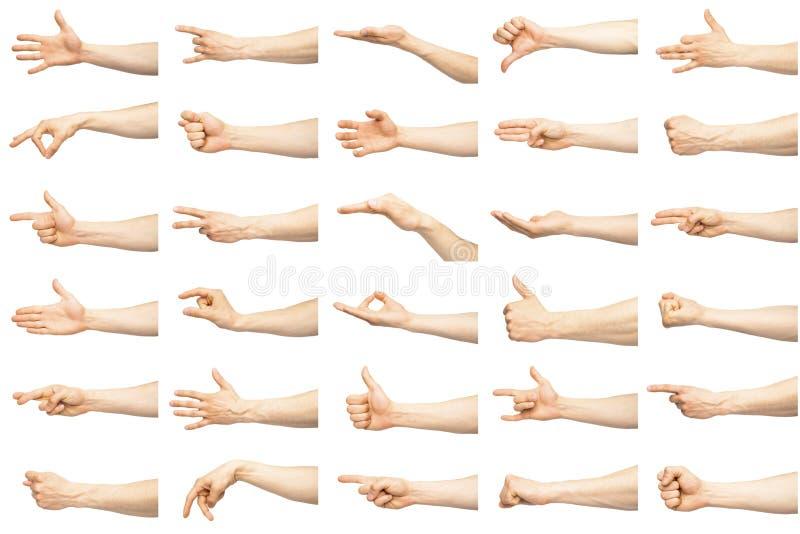 Gestos de mano caucásicos masculinos múltiples imagen de archivo