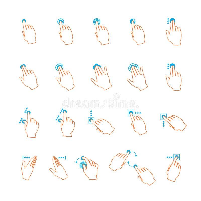 Gestos de mano de la pantalla táctil del lineart del vector fijados libre illustration