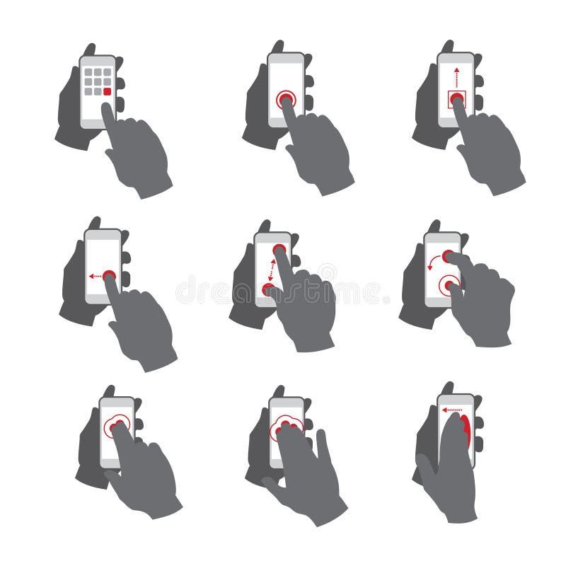 Gestos de mano de la pantalla táctil del smartphone del vector fijados stock de ilustración