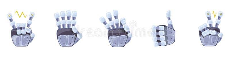 Gestos de mano del robot Manos robóticas Símbolo mecánico de la ingeniería de la máquina de la tecnología Gestos de mano fijados  stock de ilustración