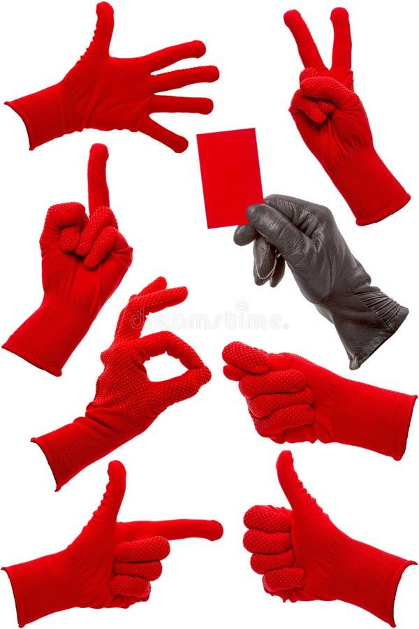 Download Gestos De Mano En Un Guante Rojo Y Negro Foto de archivo - Imagen de muestra, tarjeta: 42443604