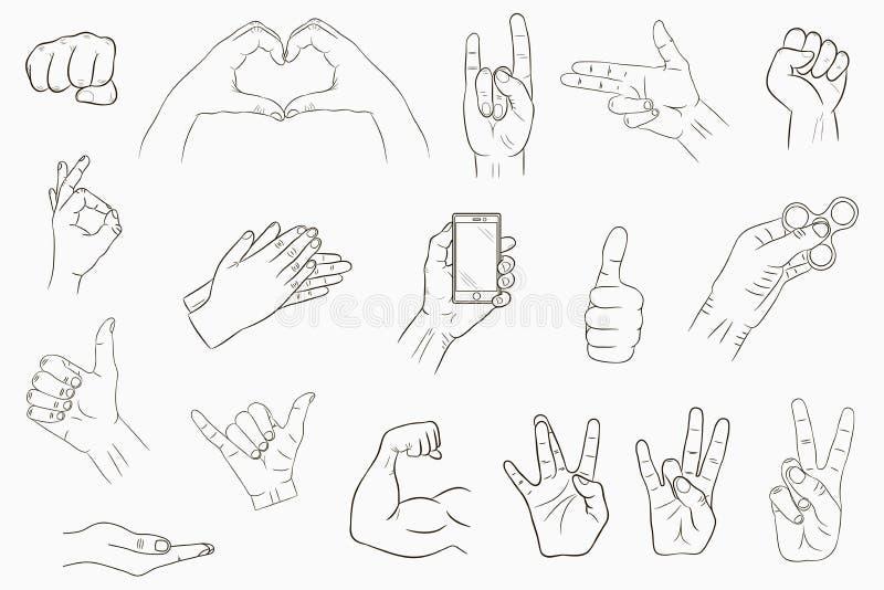 Gestos de mano fijados Colección de muestras a mano Vector ilustración del vector