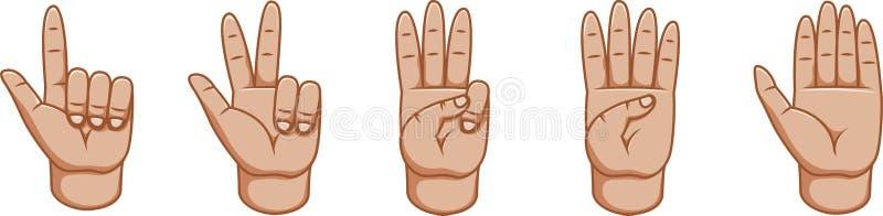 Gestos de mano, gran diseño para cualquier propósitos números Línea icono del gesto Gestos del vector Fondo blanco Lado interno stock de ilustración