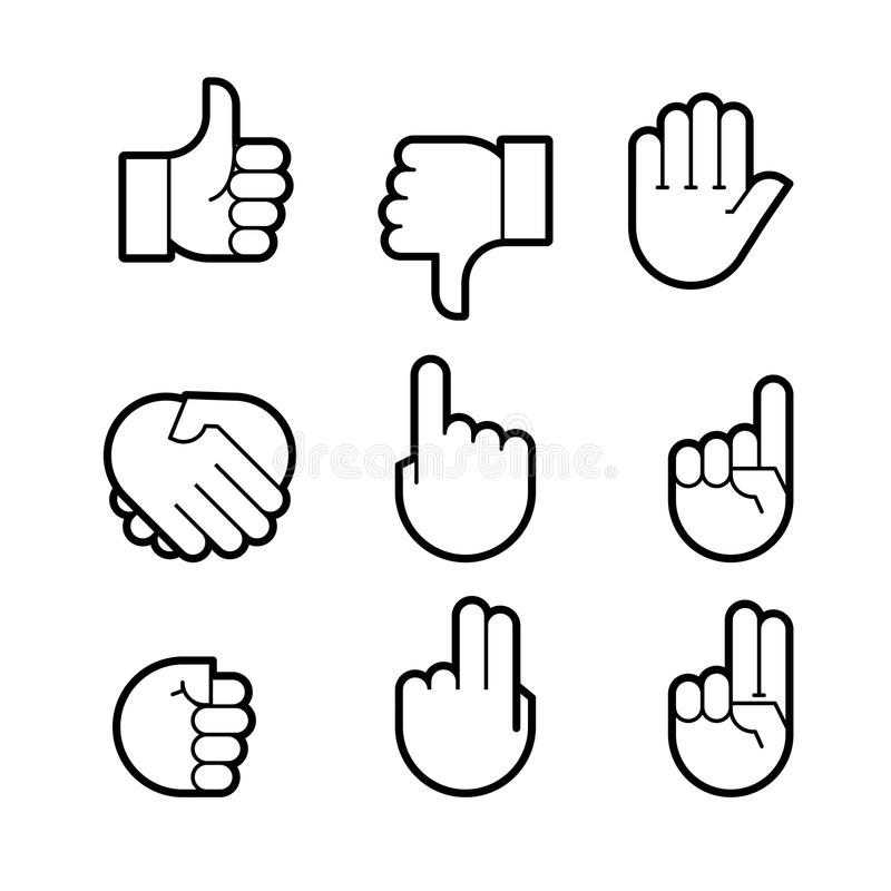 Gestos de mano Línea iconos fijados ilustración del vector