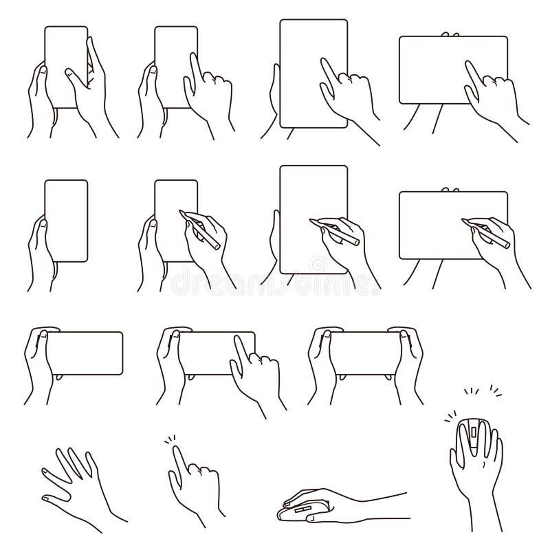 Gestos de mano 03, smartphone, tableta ilustración del vector