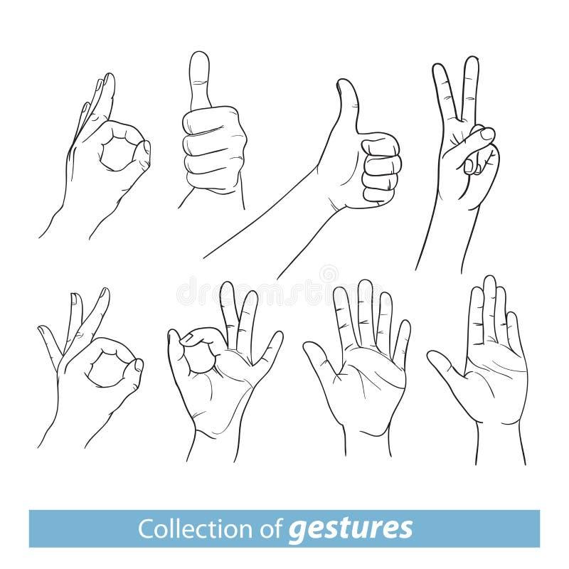 Gestos de manos humanas stock de ilustración
