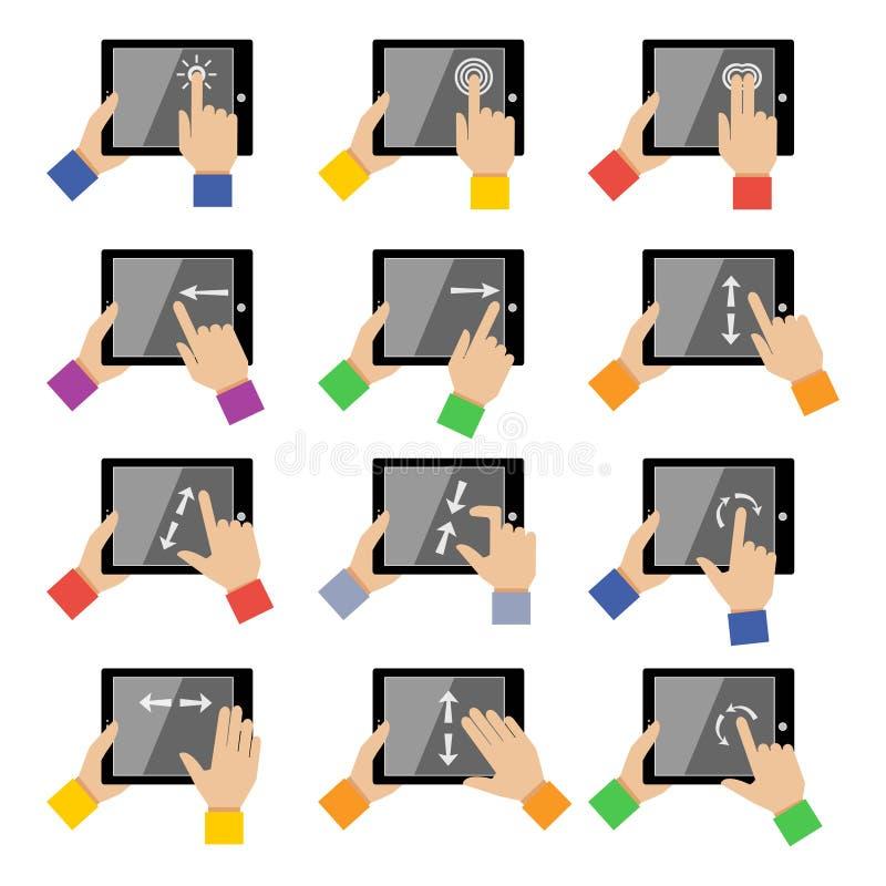 Gestos del tacto de la tableta stock de ilustración