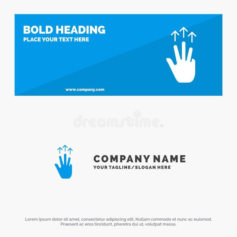Gestos, mano, móvil, tres finger, bandera sólida y negocio Logo Template de la página web del icono del tacto ilustración del vector