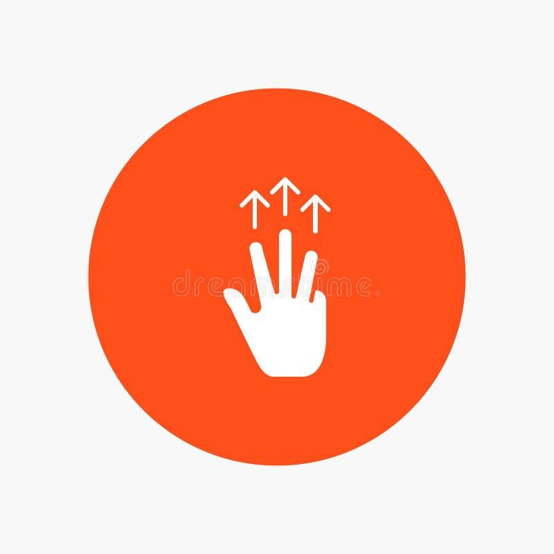 Gestos, mano, móvil, tres finger, tacto stock de ilustración