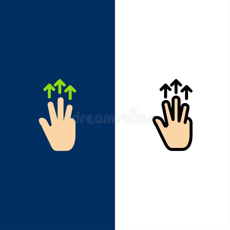 Gestos, mano, móvil, tres fingeres, iconos del tacto El plano y la línea icono llenado fijaron el fondo azul del vector stock de ilustración