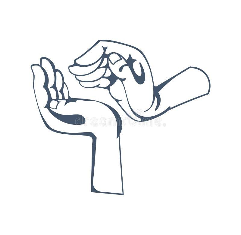 Gestos: simbolización de actitud respetuosa, calor, amabilidad, cuidado, tutela, ayuda amistosa stock de ilustración