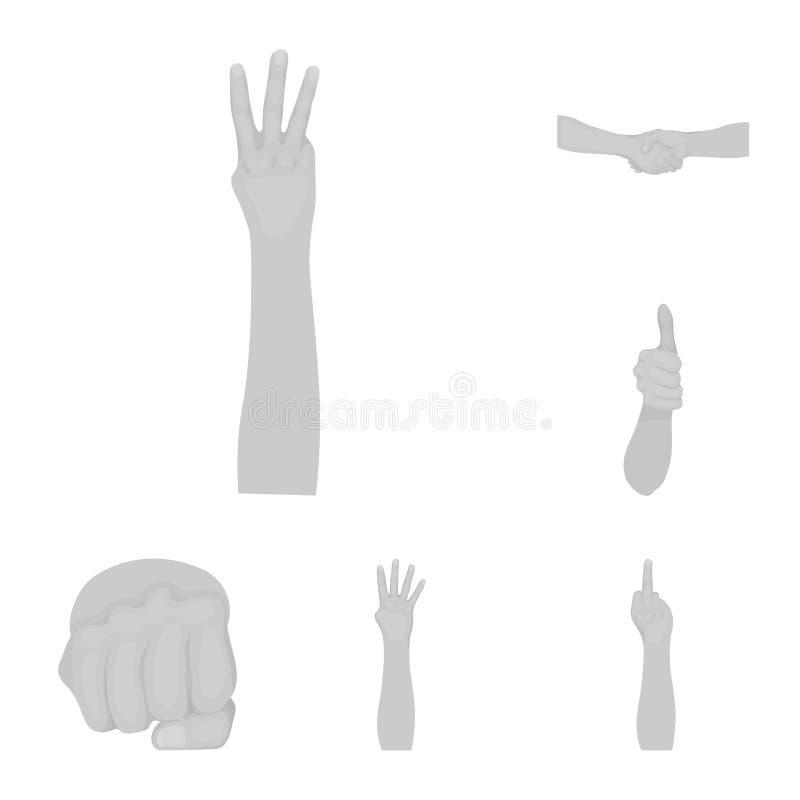 Gestos y sus iconos monocromáticos del significado en la colección del sistema para el diseño Parte emocional del símbolo del vec stock de ilustración