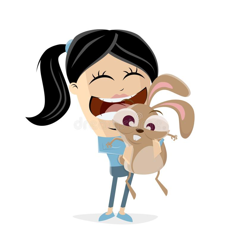 Funny cartoon illustration of an asian girl cuddling a bunny. Illustration of an asian girl cuddling a bunny royalty free illustration