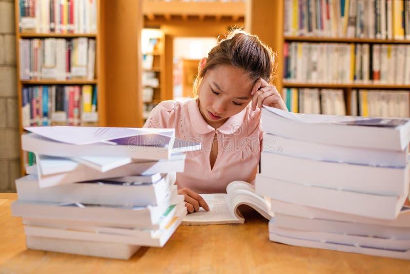 Gestraffte junge Frau, die in der Bibliothek studiert lizenzfreies stockbild
