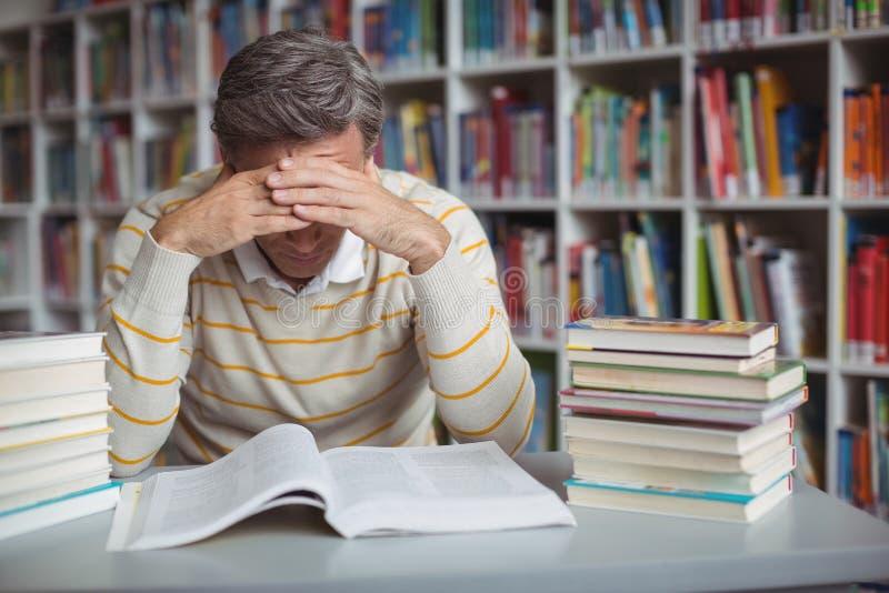 Gestraffter Schullehrer, der in der Bibliothek studiert lizenzfreie stockfotos
