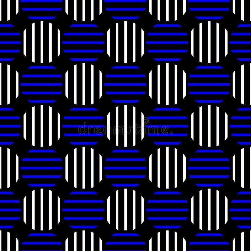 Gestreept Blauw Dots Seamless Background royalty-vrije illustratie