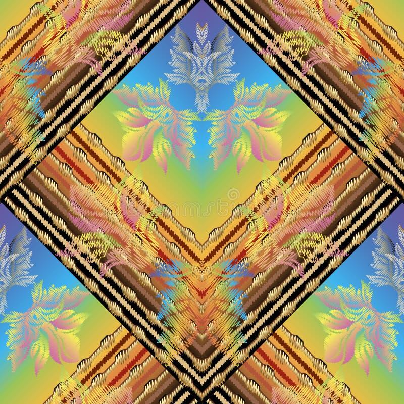 Gestreept borduurwerk kleurrijk vector naadloos patroon Barokke Dam vector illustratie