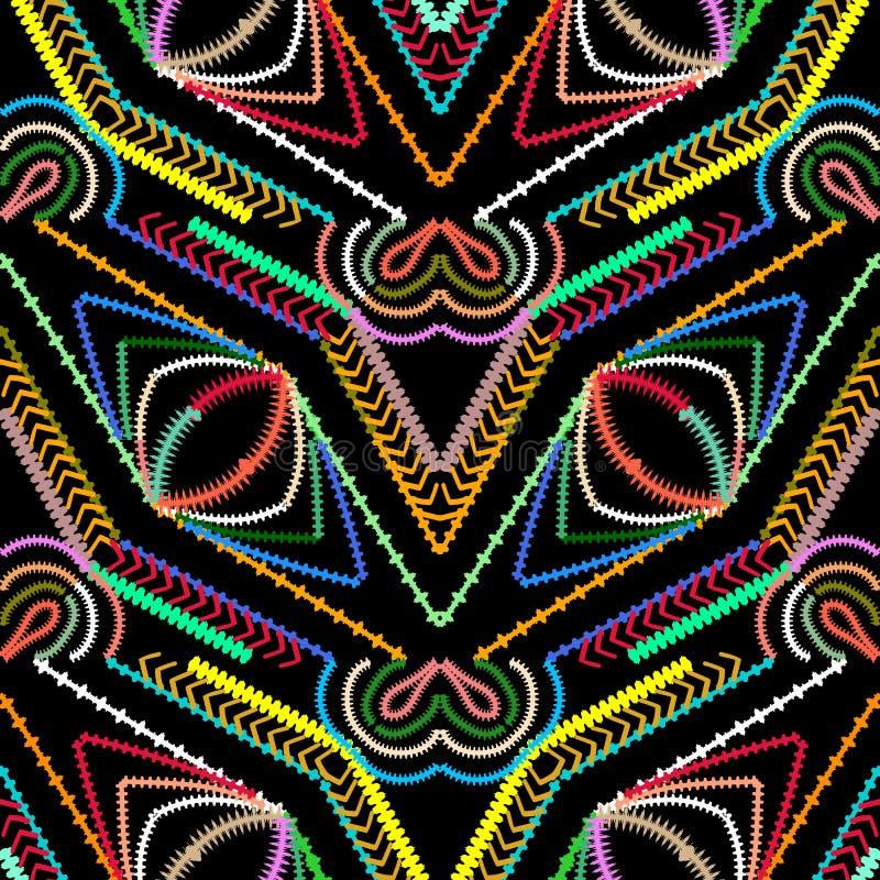 Gestreept geometrisch vector naadloos patroon Abstracte kleurrijke geo stock illustratie