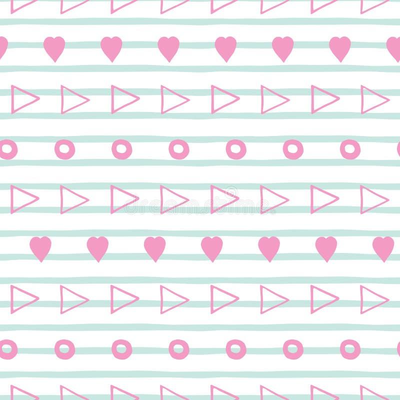 Gestreept hand getrokken roze en blauw geometrisch naadloos patroon royalty-vrije illustratie