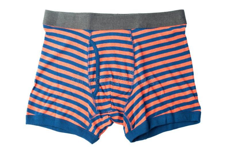 Gestreept mannelijk ondergoed dat op wit wordt geïsoleerd stock fotografie