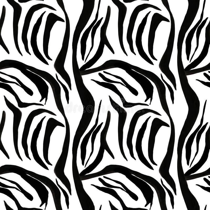 Gestreept naadloos die patroon met waterverf en inkt op witte achtergrond wordt gemaakt Zwarte strepen van verf royalty-vrije illustratie
