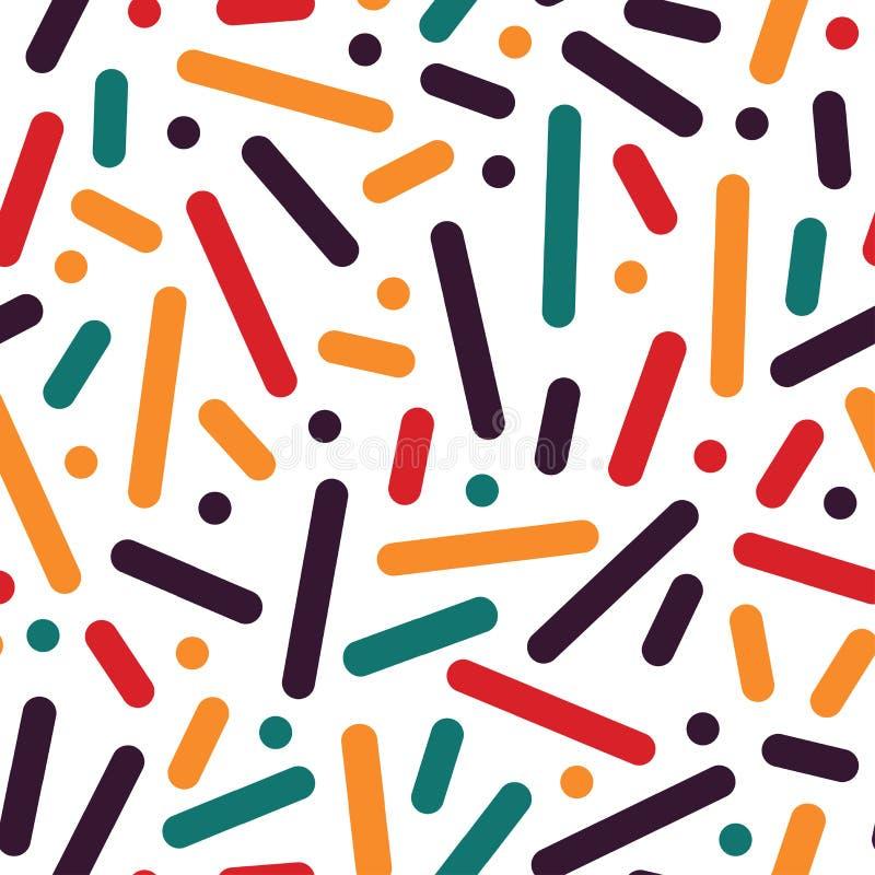 Gestreept naadloos patroon - in kleurrijke achtergrond De stijl van Memphis, de manierjaren '80 - jaren '90 stock illustratie