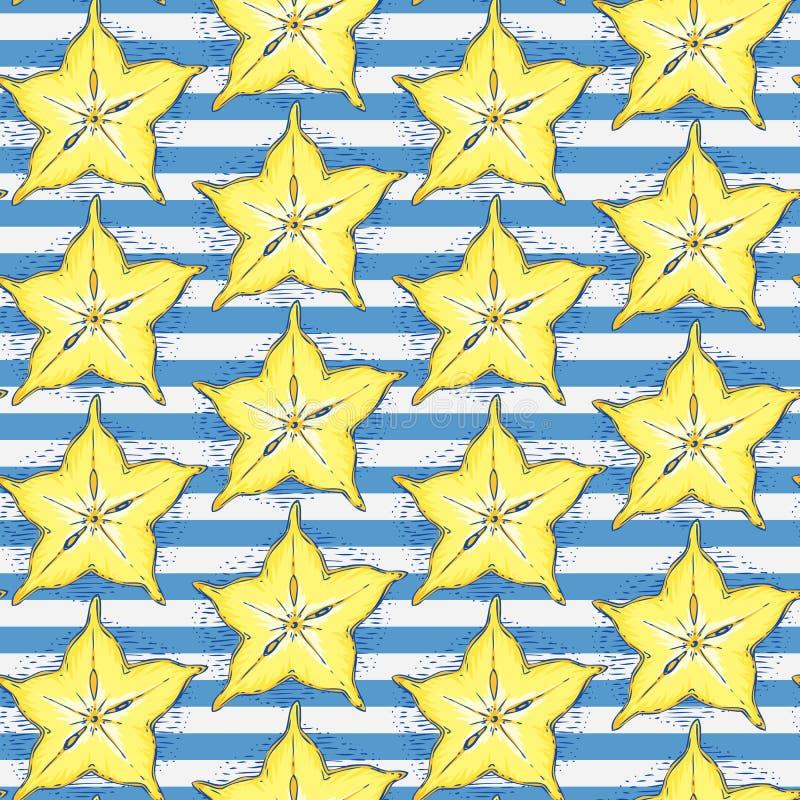 Gestreept Naadloos Patroon met Rijpe Carambola vector illustratie