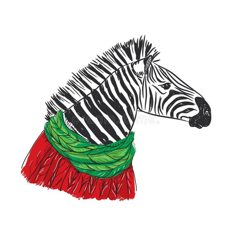 Gestreept portret, Kerstmis rode gebreide sweater en een groene sjaal Schetstekening Zwarte contour op een witte achtergrond Vect royalty-vrije illustratie