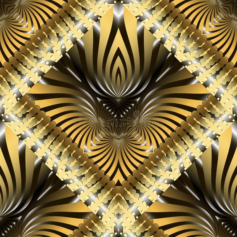 Gestreept sier gouden 3d naadloos patroon Moderne gevormde geweven achtergrond 3D Behang Herhaal achtergrond met geometrisch vector illustratie