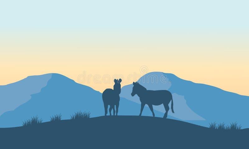 Gestreept silhouet twee op de berg vector illustratie