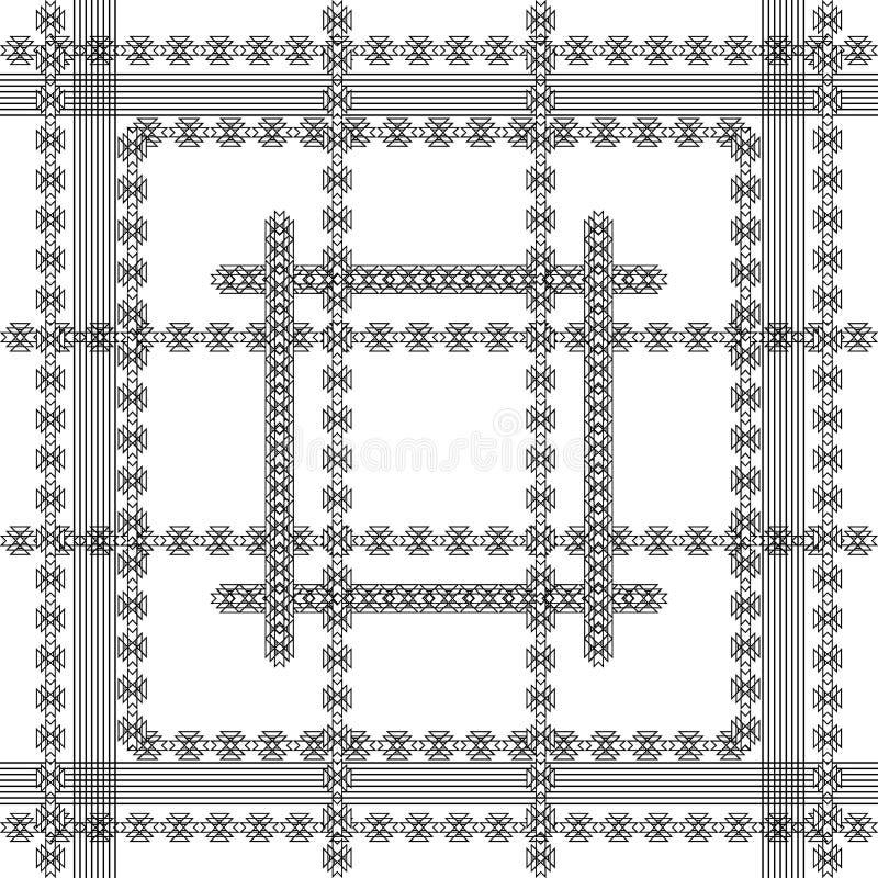 Gestreept stammen en etnisch zwart-wit naadloos patroon Vector sier geometrische achtergrond Abstract herhaal decoratief vector illustratie