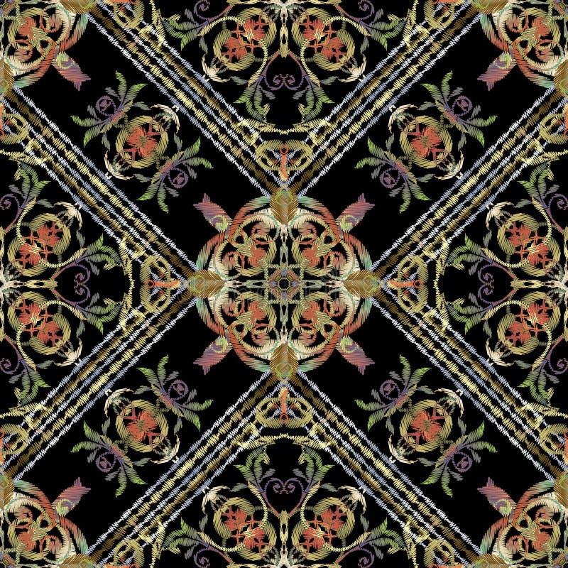 Gestreept tapijtwerk Barok vector naadloos patroon Geometrische siergrungeachtergrond Rijke Damast van de borduurwerk het barokke vector illustratie