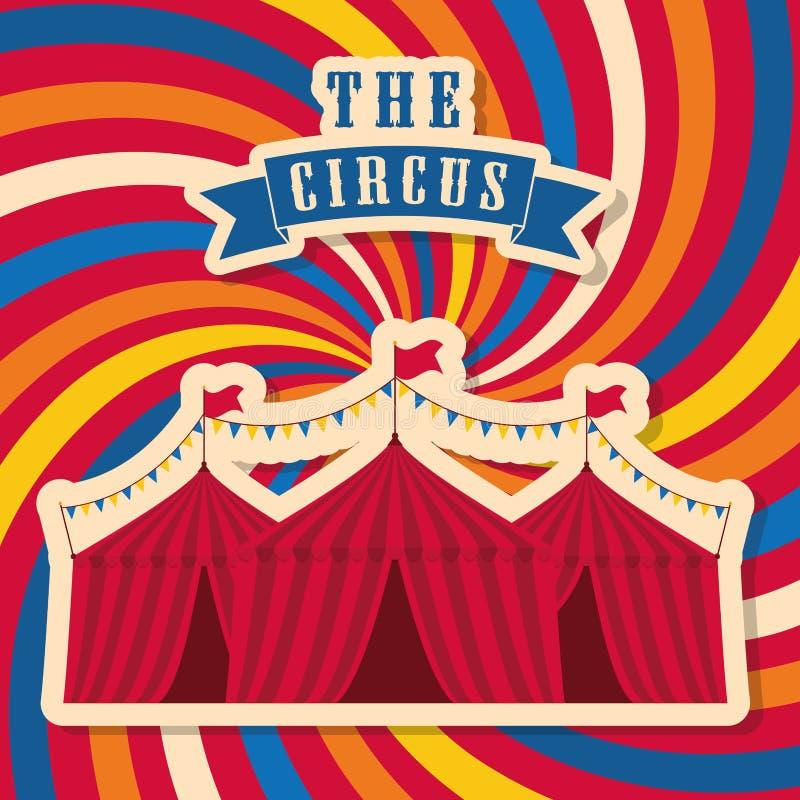 Gestreept tentpictogram Circus en Carnaval-ontwerp Grafische vector royalty-vrije illustratie