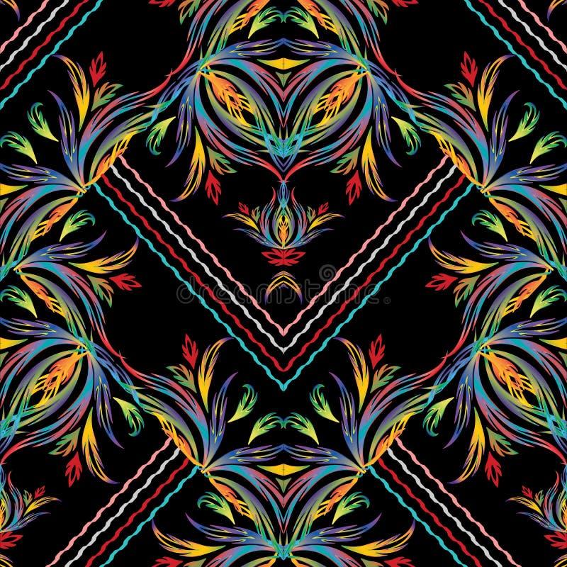 Gestreept vector Barok naadloos patroon Bloemen geometrische backgr vector illustratie
